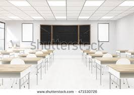 Modern School Desks Classroom Interior Modern School Blackboard Desks Stock