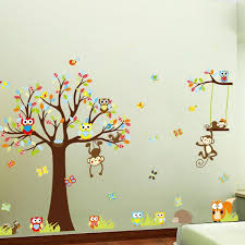 jungle animals tree vinyl wall stickers kids bedroom wallpaper big jungle animals tree vinyl wall stickers kids bedroom wallpaper decals cute animal baby children cartoon room