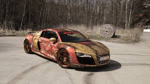 porsche gt3 rs wrap audi r8 v10 with rust themed iron man wrap by skepple gtspirit