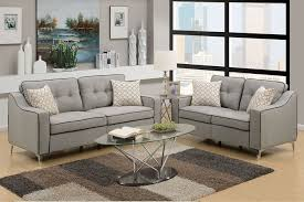 Grey Sofa And Loveseat Sets Poundex F6892 Light Grey Polyfiber 2 Pieces Sofa Loveseat Set