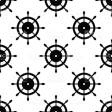 Nautical Theme Vector Seamless Pattern With Steering Wheel Symmetrical Background