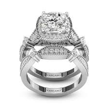 vancaro engagement rings vintage style halo princess cut engagement ring set for women