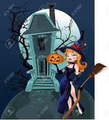 haunted halloween witch house and witch royalty free cliparts