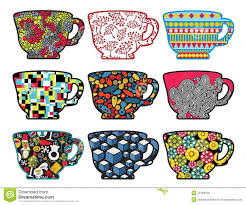 set of tea cups with cool patterns royalty free stock photo