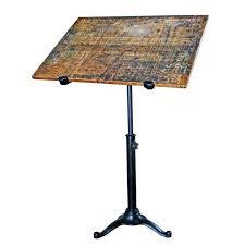 vintage pedestal table cast iron wood tilt top artist drafting
