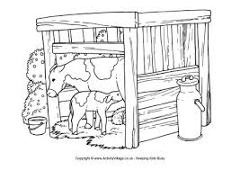 cow and cowshed colouring page