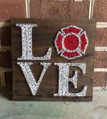 Family Wood Sign Home Decor Love Firefighter Support Fire Family String Art Wood Sign Wall