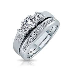 engagement and wedding ring set 925 silver past present future cz engagement wedding ring set