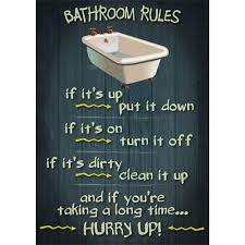 bathroom rules retro vintage funny poster message wooden