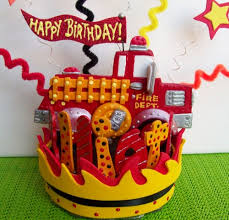 firetruck cakes birthday cake topper firetruck party truck party centerpiece
