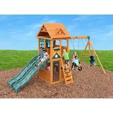 cedar summit westbury wooden play set outdoor spaces and spaces