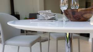 does round table deliver round modern white gloss dining table stylish trumpet pedestal base