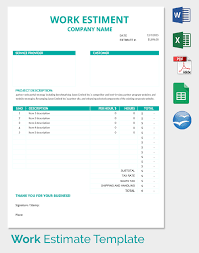estimate templates for word blank estimate template 23 free word pdf excel google sheets odt