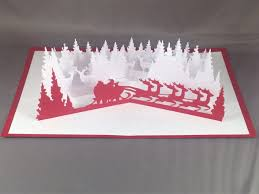 3d christmas card with santa sleigh card christmas pop up cards