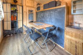 Tiny Home Dining Table Cool Rustic Tiny House Combines Chalkboard Wall And Murphy Bed
