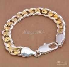 silver gold bracelet images Hot sale men 39 s bracelet 925 silver bold 10mm men 39 s gold plated jpg