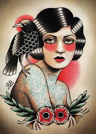 vintage tattoos design woman patterned posters kraft paper