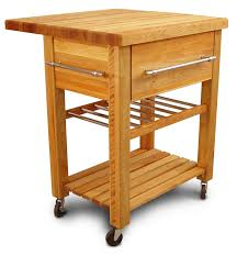 kitchen solid wood kitchen cart with wine rack and butcher blok