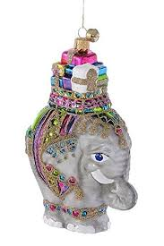 jingle nog hand blown glass ornament zoey the elephant