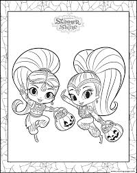 halloween color pages printable shimmer and shine halloween coloring pack coloring pages printable