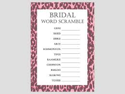 bridal word scramble pink leopard bridal shower games package
