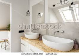 minimalist bathroom two sinks wooden vanity stock photo 589566563