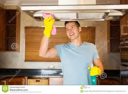 young man cleaning kitchen stock photo image 60221714