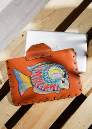 leather case for macbook air or macbook pro diving fishes