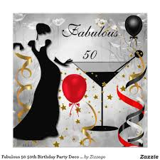 Invitation Card For Birthday Party Fabulous 50 50th Birthday Party Deco Lady Red 2 Card Birthdays