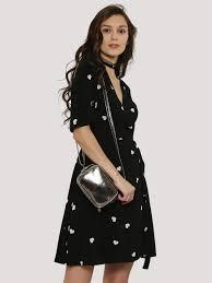 buy new look heart print wrap dress for women women u0027s black