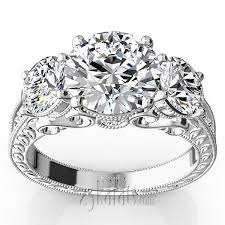 fancy wedding rings three antique inspired diamond engagement ring 1 1 10 ct t w