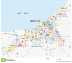 Cleveland Map Cleveland Road And Administrative Map Stock Illustration Image