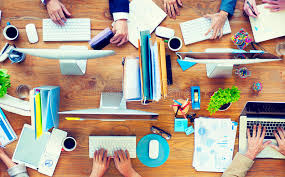 Business Office Desks Of Business Working On An Office Desk Stock Image