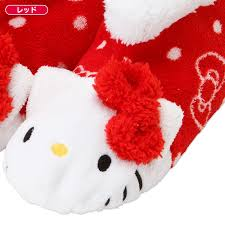 hello kitty microfiber poofy indoor shoes slippers red sanrio