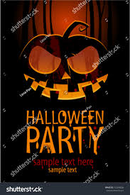 halloween party design template pumpkin place stock vector