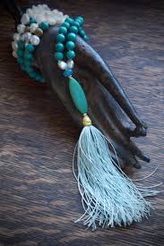 tassel necklace blue boho necklace country chic jewelry long