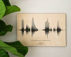 5th year wedding anniversary gift 5 year wedding anniversary gift personalized sound wave on wood