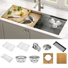metal kitchen sink and cabinet combo kraus kwu120 45 kore 2 tier workstation 45 inch undermount 16 single bowl stainless steel kitchen sink with accessories pack of 10