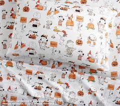 Peanuts Shower Curtain Organic Snoopy And Friends Halloween Sheet Set Pottery Barn Kids