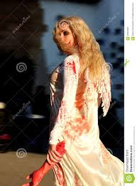 in bloody angel costume on halloween stock photo image