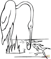 crane is fishing coloring page free printable coloring pages