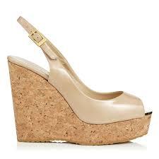 patent leather cork wedge sandals prova jimmy choo