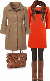 adorable brown trench coat red dress leggings scarf long boots