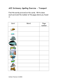 ace spelling dictionary exercises sen by colleenpearson