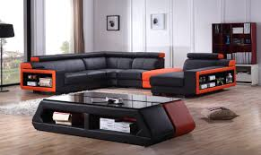 Orange Leather Sectional Sofa Casa T361 Modern Black Orange Leather Sectional Sofa