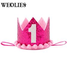 number 1 headband baby boys 1st birthday party hat prince princess crown