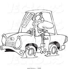 vector cartoon deceptive car salesman outlined coloring