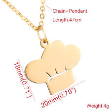 necklace choker length images Amorui new 2017 chef hat pendant necklace jewelry women stainless jpg