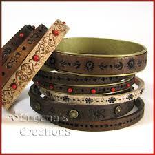 bracelet patterns leather images Faux leather polymer clay bracelets jpg