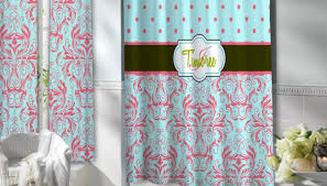 Navy And Coral Shower Curtain Teal Bathroom Shower Curtain Light Blue Liner Royal Fabric